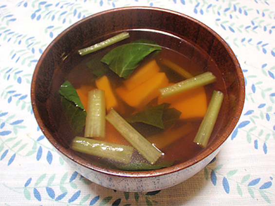 青菜と生麩の汁