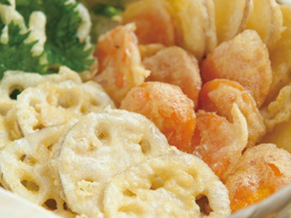 薄切り根菜の天ぷら