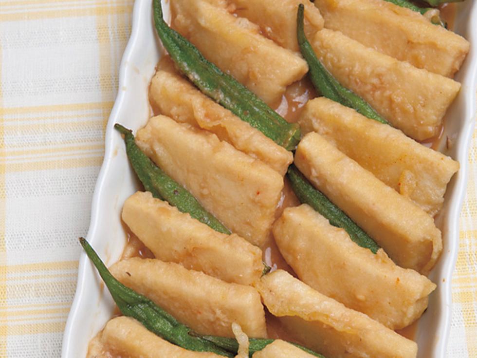 高野豆腐とオクラの味噌マリネ