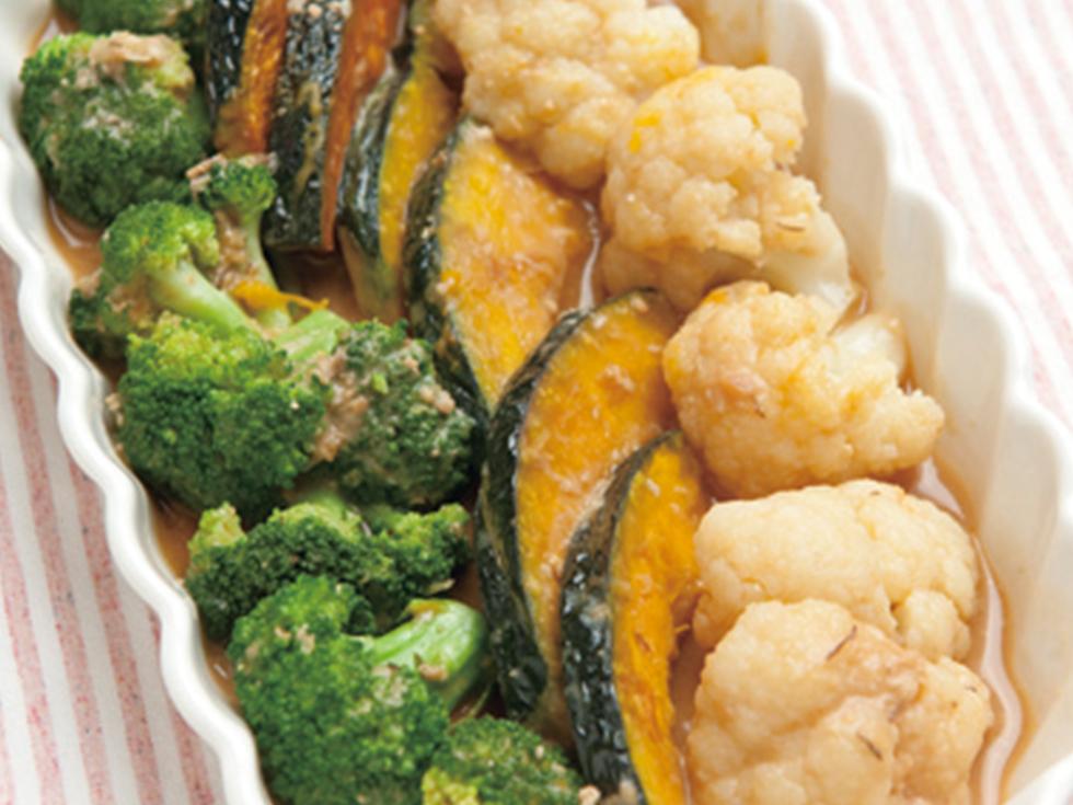 カボチャと蒸し花野菜の味噌マリネ